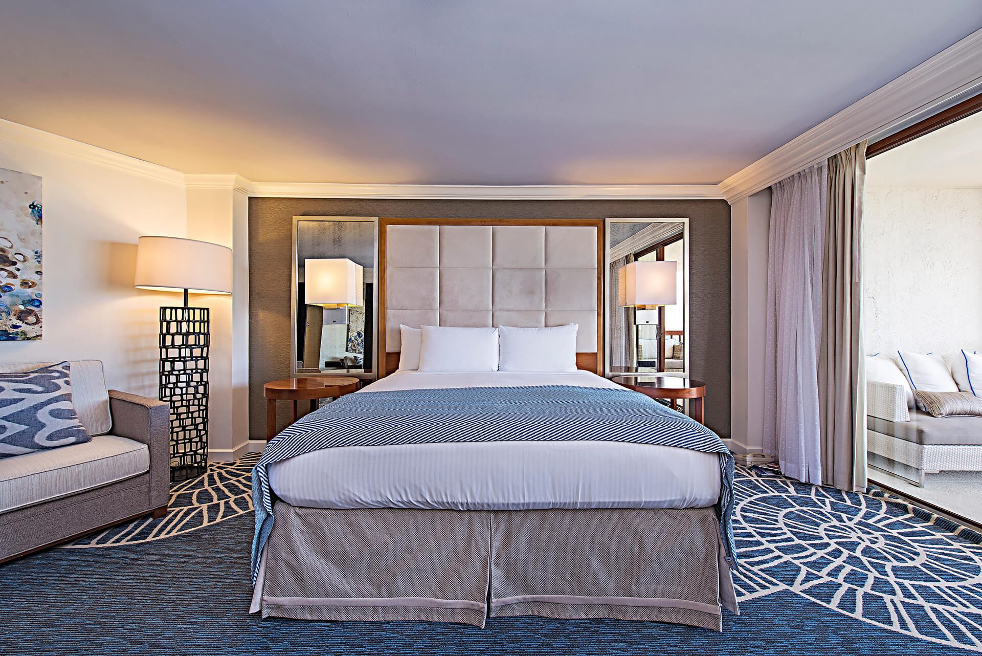 oversized king bed in the gulf view guest room