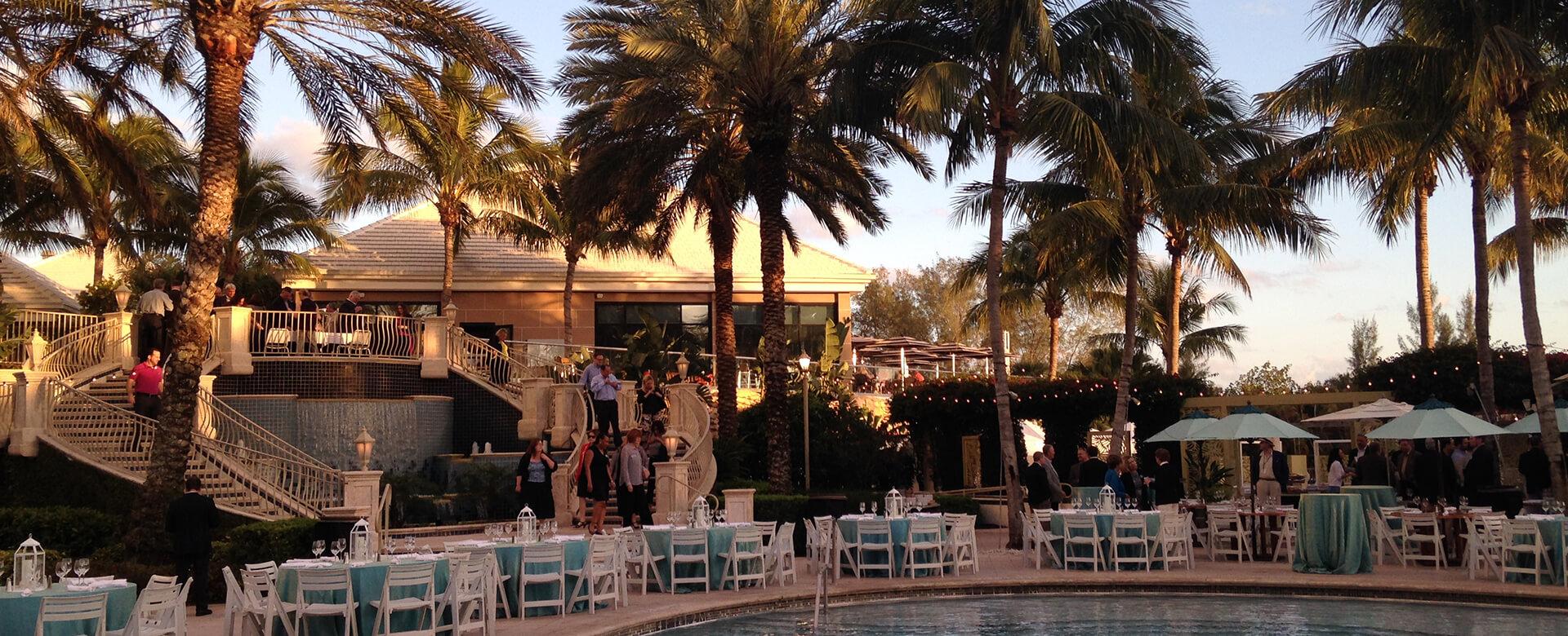 beach wedding reception tables